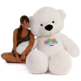 6ft Personalized Happy Birthday Life Size Teddy Bear – choose your favorite fur color!