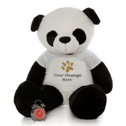 5ft Giant Life Size Panda Bear with Personalized Paw Print Shirt
