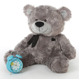 Diamond Shags Chubby and Adorable Rich Silver Teddy Bear 30in
