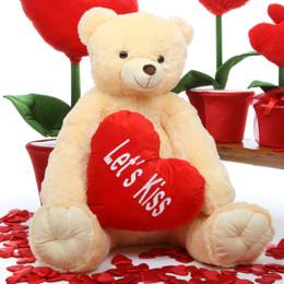 Tiny Heart Tubs LETS KISS Heart Cream Teddy Bear 42in