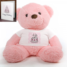Pink Birthday Cake Chubs Extra Plump Plush Teddy Bear 38in
