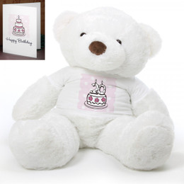Pink Birthday Cake Chubs Extra Large Plush Teddy Bear 48in