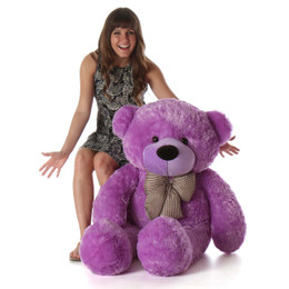 DeeDee Cuddles Adorable Lilac Plush Teddy Bear 48inch