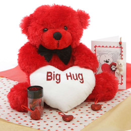 He Loves Me Bear Hug Care Package Bitsy Cuddles red teddy bear 18in