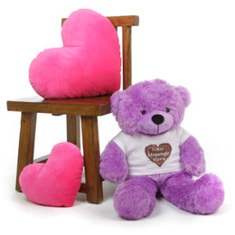 Purple 30in DeeDee Cuddles Personalized Teddy Bear with Heart Truffle T-shirt