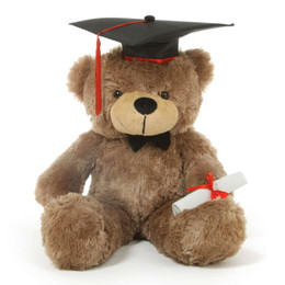 Sunny G Cuddles Mocha Graduation Teddy Bear with Cap and Diploma 30in