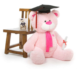 Lulu G Shags Pink Graduation Teddy Bear with Cap and Diploma 35in
