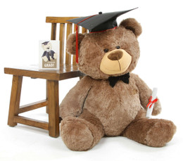 Tiny G Shags Mocha Graduation Teddy Bear with Cap and Diploma 35in