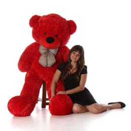 Bitsy Cuddles Soft and Huggable Jumbo Red Teddy Bear 60in - Huge Teddy Bear