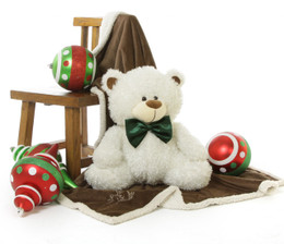 My First Christmas Teddy Bear 25 inch!  Baby's First Christmas Will Be White with Babs Fluffy Shags