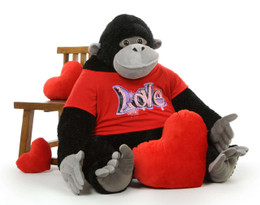 Adonis Cutie 41 inch Giant Stuffed Gorilla with Shirt, A Unique Valentine's Gift! Includes 2 Plush Gifts with Your Purchase!