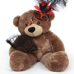 Sunny Cuddles Halloween Teddy Bear in Red and Black Feather Mask 38in