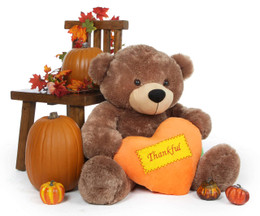 Sunny Cuddles Mocha Thanksgiving Bear with Plush Orange Heart 38in
