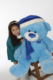 Marty Shags Giant Blue Christmas Teddy Bear in Blue Santa hat and scarf, 45in