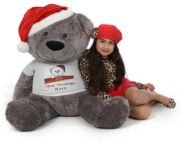 Huge Personalized Christmas Teddy Bear in a Red Santa Hat 45in Diamond Shags with Beautiful Silvery Fur!