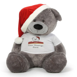 Personalized Giant Christmas Teddy Bear in Red Santa Hat 60in Diamond Shags Brings Big Elegance to the Holidays!