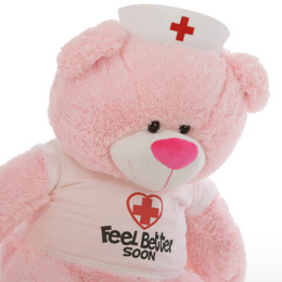 Feel Better Soon Giant Pink Teddy Bear 45in in Nurse's hat and custom t-shirt Lulu Shags is the perfect prescription to feel better fast!