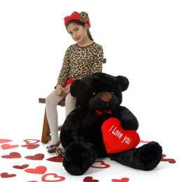 "Loveable Juju Cuddles 38in Black Valentine's Day Teddy Bear with Red ""I Love You"" heart"