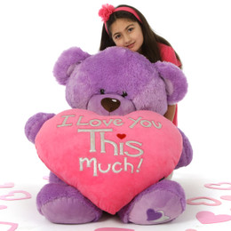 "Sweet 36in Purple Valentine's Teddy Bear Sewsie Big Love holding ""I Love You THIS Much"" plush pink heart"