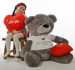 "Giant Diamond Shags 5 ft Personalized Valentine's Day Teddy Bear with red plush ""I love you"" heart pillow"