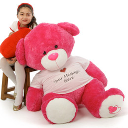 Personalized Hot Pink Enormous Teddy Bear - Valentine's Day 4ft