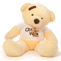 5ft Adorable 'Get Well Soon' Teddy Bears in Pink, Cream, or Mocha, with cute bear shirt and custom-positioned bandage