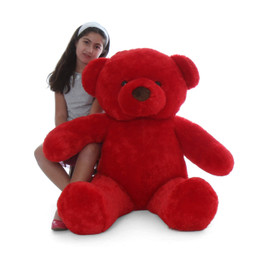 Riley Chubs Extra Plump and Adorable Bright Red Teddy Bear 4Ft