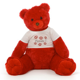 Huge 3½ ft Personalized Red Prom Teddy Bear Scarlet Tubs