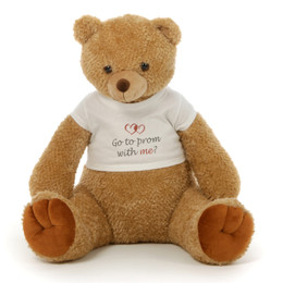 Big 2½ ft Personalized Prom Teddy Bear Amber Brown Honey Tubs