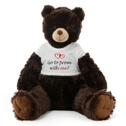 Huge 3½ ft Personalized Prom Teddy Bear Dk. Brown Baby Tubs