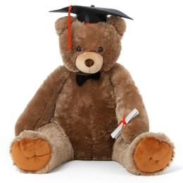 Graduation teddy bear Sweetie Tubs has diploma, black cap & bowtie.