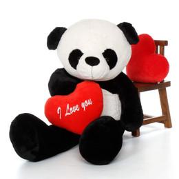 "60in Life-Size Panda Bear Precious Xiong w/red ""I Love You"" heart"