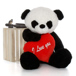 """48in Big Panda Bear Ricky Xiong with red """"I Love You"""" heart"""