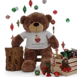 4ft life size Personalized Christmas Teddy Bear Mocha Sunny Cuddles