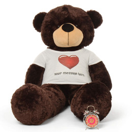 5ft life size Personalized Dark Brown Teddy Bear Brownie Cuddles in Red Heart Shirt