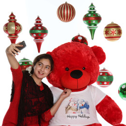 5ft life size Red Teddy Bear Happy Holidays Bitsy Cuddles