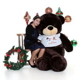 6ft Chocolate Brown Merry Christmas Teddy Bear Brownie Cuddles