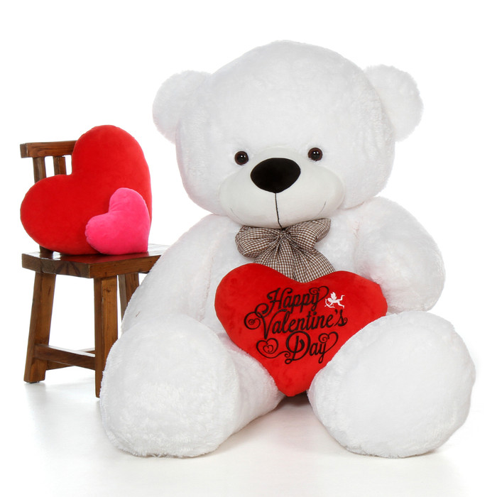 72in coco cuddles white giant teddy bear with happy valentines day heart pillow - Giant Teddy Bears For Valentines Day