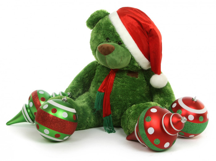 Willy Shags 27 inch Thinks Green is the Best Color of Christmas for Teddy Bears!
