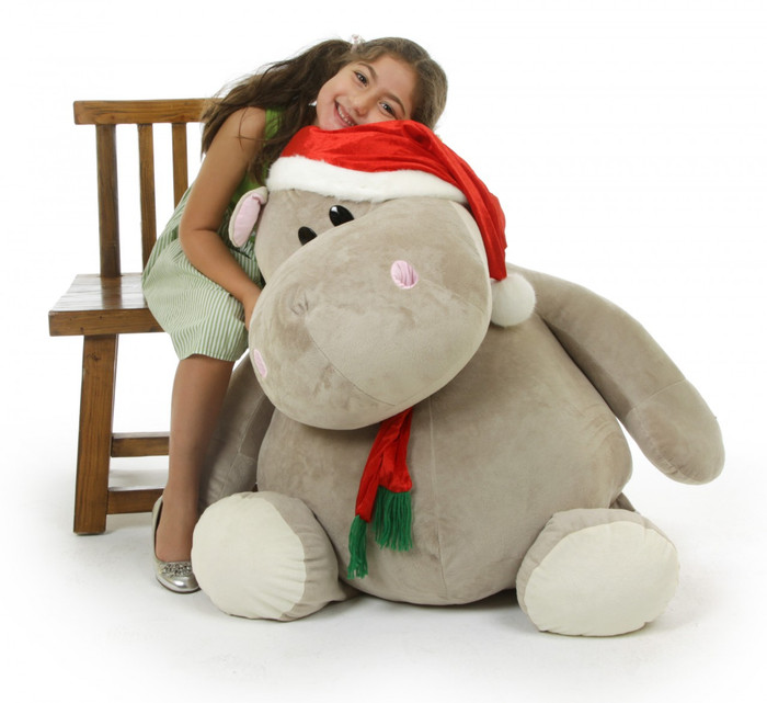 Huggable Christmas Hippopotamus!  43 inches tall, Huggy Kubu Hippo wears a cute Santa hat and red scarf just right for celebrating Christmas with you!