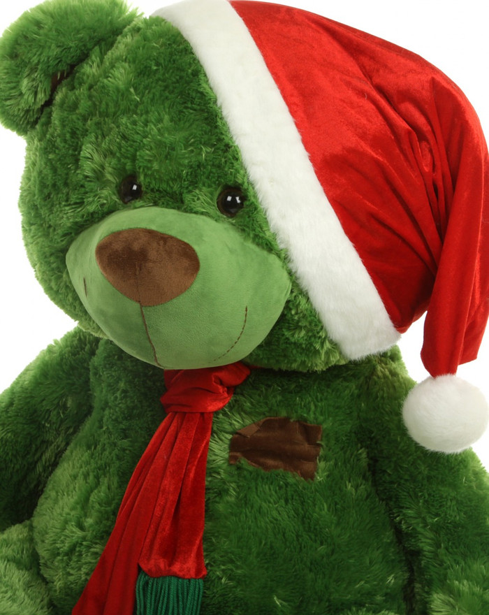A inch christmas teddy bear in scarf santa hat