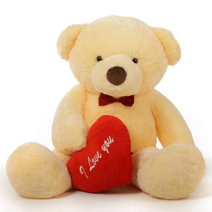 """Romantic and Sweet! 60in Smiley Chubs Teddy Bear for Valentine's Day with big """"I Love You"""" hearts"""