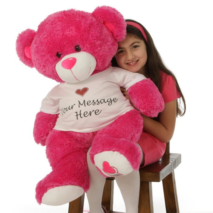 Huge 3½ ft Cha Cha Big Love personalized hot pink teddy bear