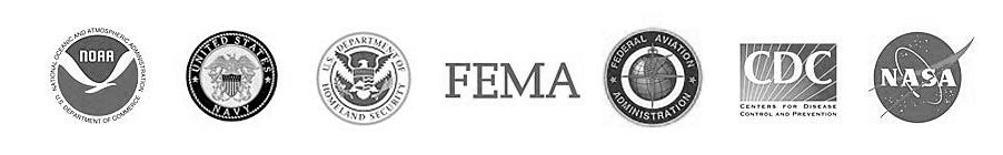 NOAA, US Navy, DHS, FEMA, FAA, CDC, NASA