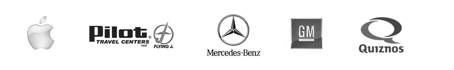Apple, Pilot Travel Centers, Mercedes-Benz, General Motors, Quiznos