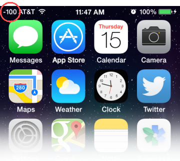 iPhone with dBm displayed in the Status bar