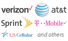Carrier logos for Verizon, AT&T, Sprint, T-Mobile, U.S. Cellular