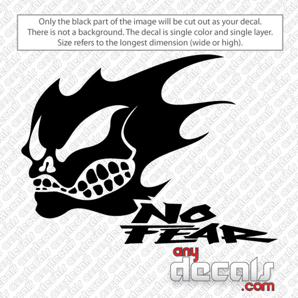 Motocross Car Decals No Fear With Skull Car Decal AnyDecalscom - Stickers and decals for cars