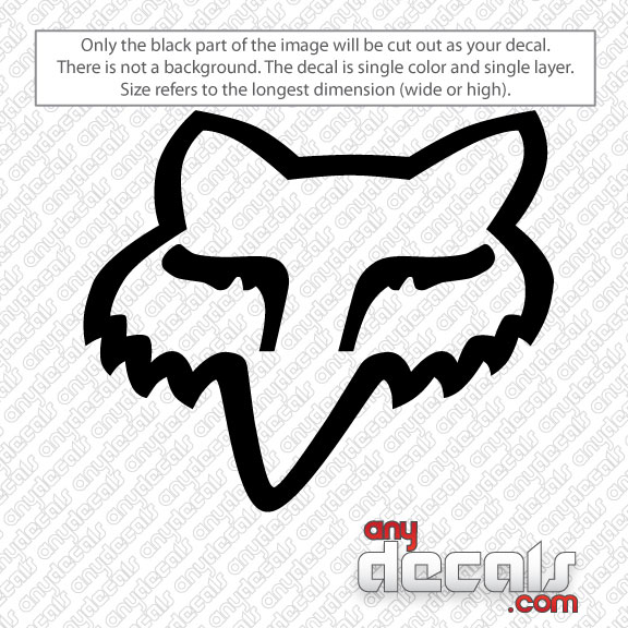 Motocross Car Decals Fox Racing Fox Head Car Decal AnyDecalscom - Vinyl decals car