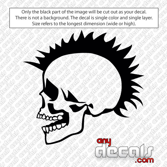 Car Decals Car Stickers Mohawk Skull Car Decal AnyDecalscom - Stickers and decals for cars